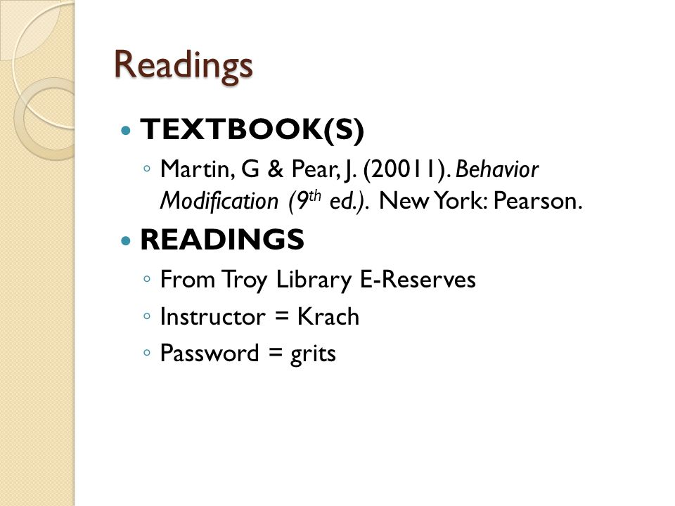 Readings TEXTBOOK(S) READINGS