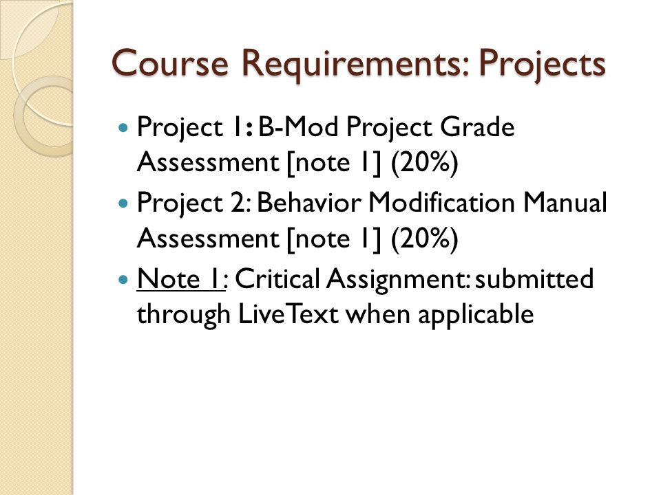 Course Requirements: Projects