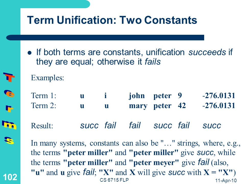 Term Unification: Constant and Structure