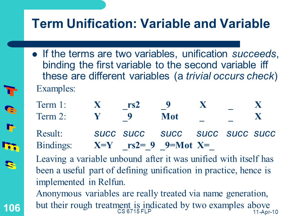 Term Unification: Two Structures (I)
