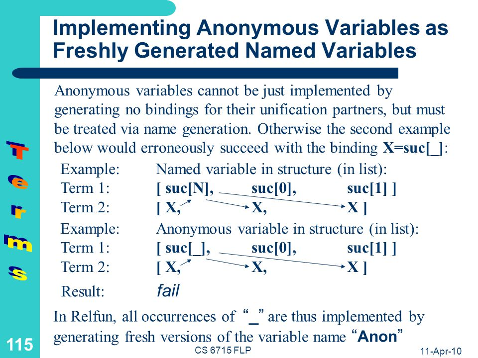 Terms Summary Terms are the explicit data values of FP and LP