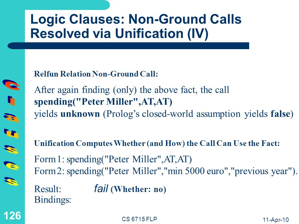 Logic Clauses: Non-Ground Calls Resolved via Unification (V)