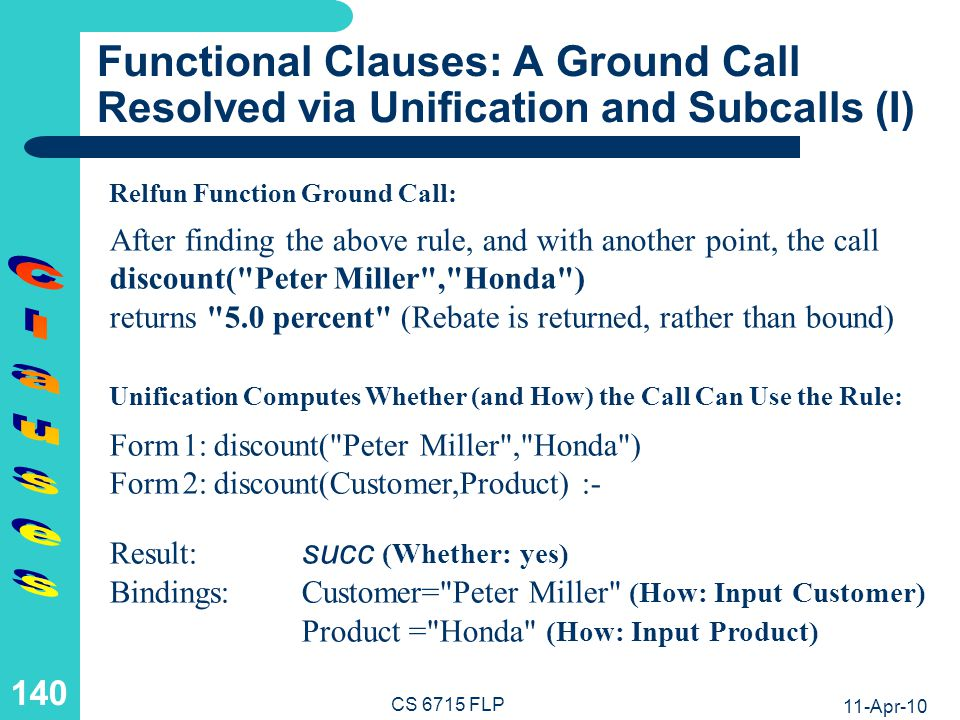 Functional Clauses: A Ground Call Resolved via Unification and Subcalls (II)