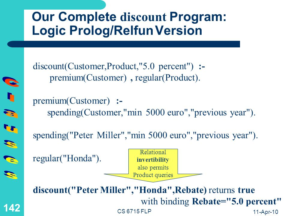 Our Complete discount Program: Functional (Equational) Relfun Version