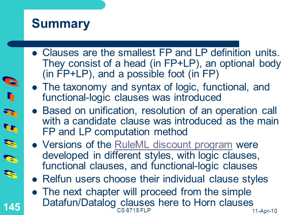 Recursion in the Definition of Clauses
