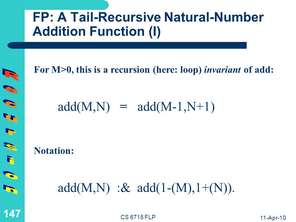 FP: A Tail-Recursive Natural-Number Addition Function (II)