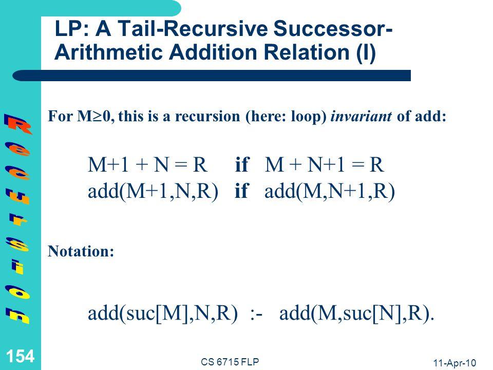 LP: A Tail-Recursive Successor-Arithmetic Addition Relation (II)