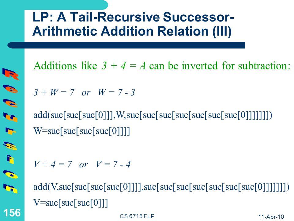 LP: A Tail-Recursive Successor-Arithmetic Addition Relation (IV)