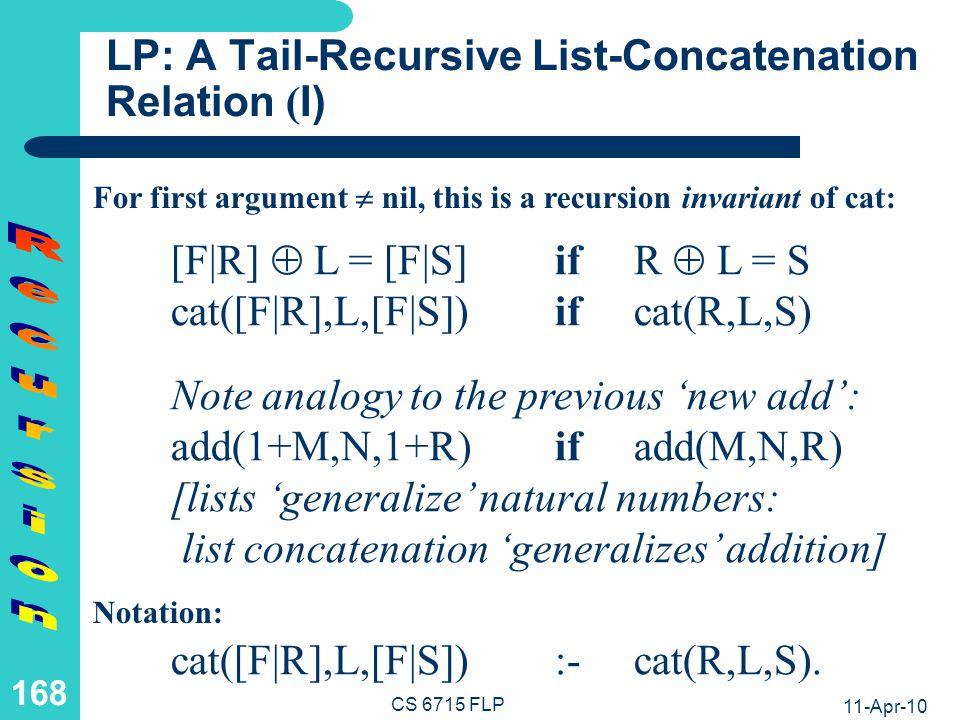 LP: A Tail-Recursive List-Concatenation Relation (II)