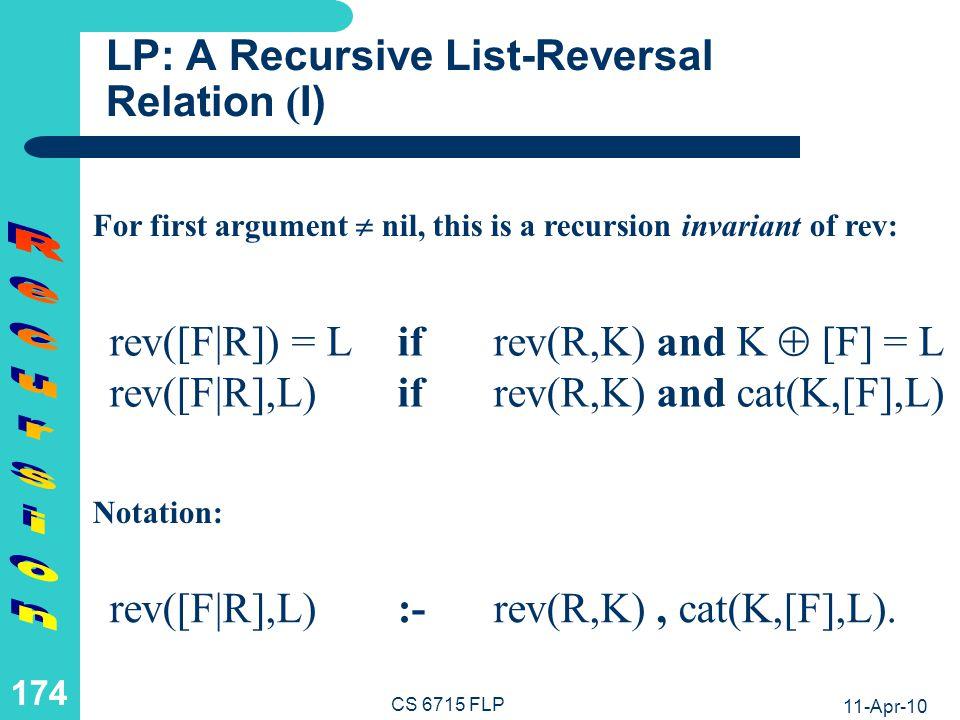 LP: A Recursive List-Reversal Relation (II)