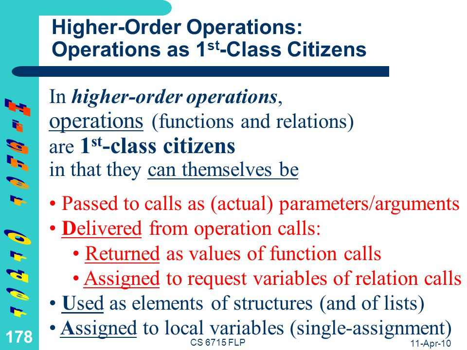Taxonomy of 1st-Order and Higher-Order Operations