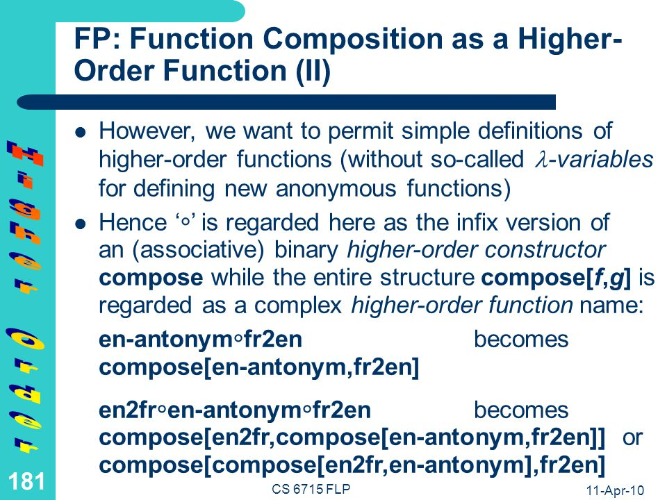 FP: Application of Compose as a Higher-Order Function