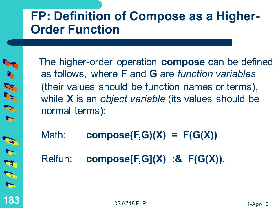 FP: Computation with Simple Compose as a Higher-Order Function