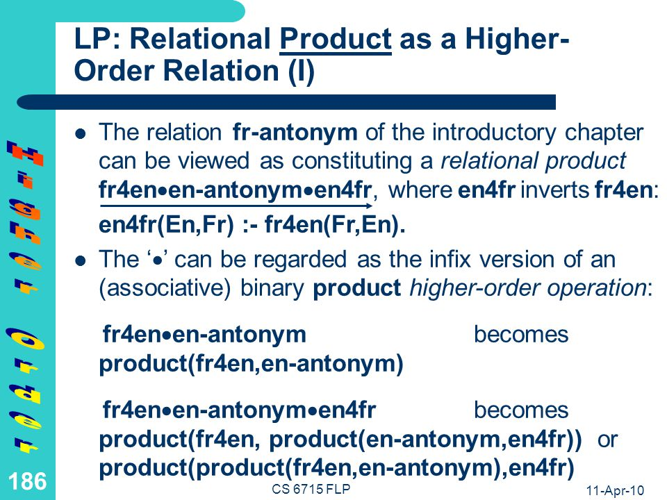 LP: Relational Product as a Higher-Order Relation (II)