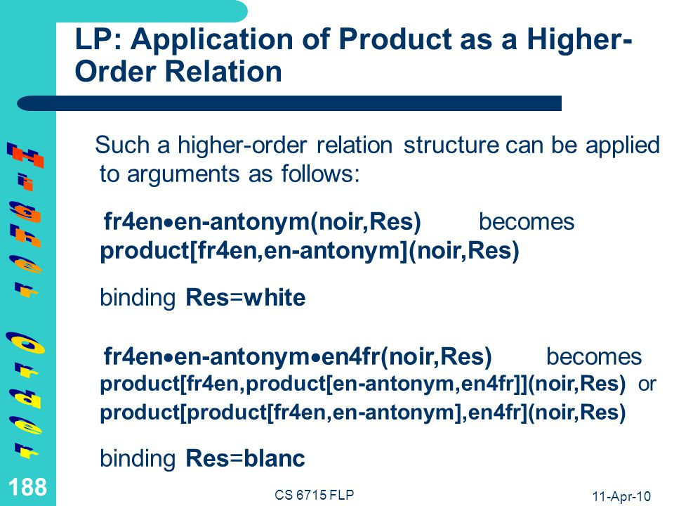 LP: Definition of Product as a Higher-Order Relation