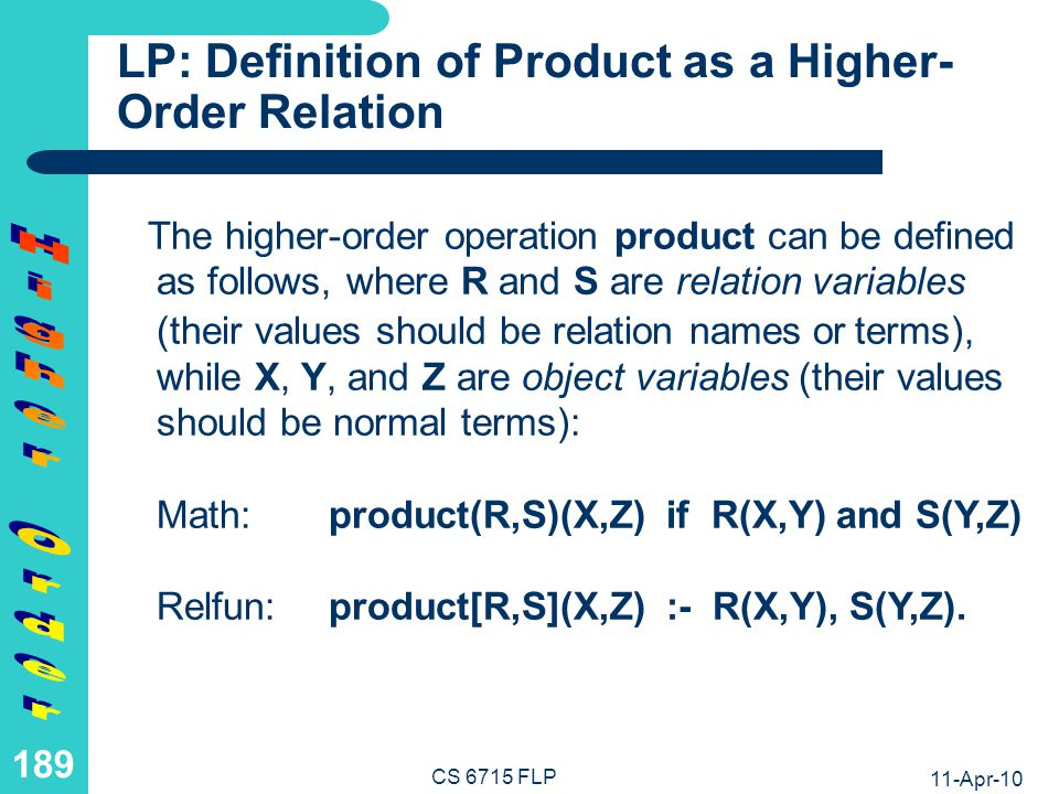 LP: Computation with Simple Product as a Higher-Order Relation
