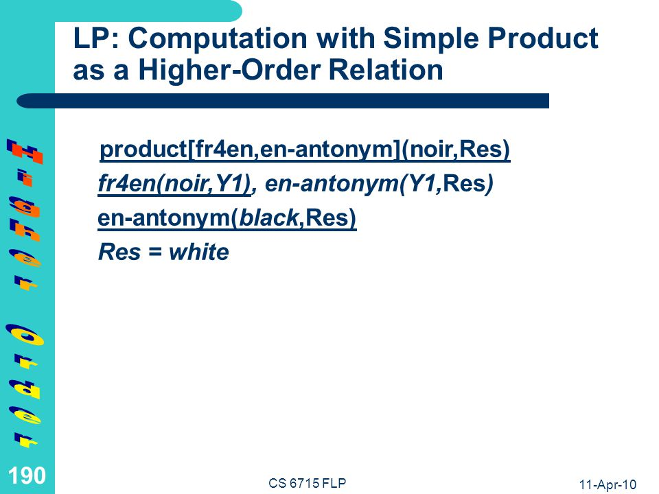 LP: Computation with Nested Product as a Higher-Order Relation