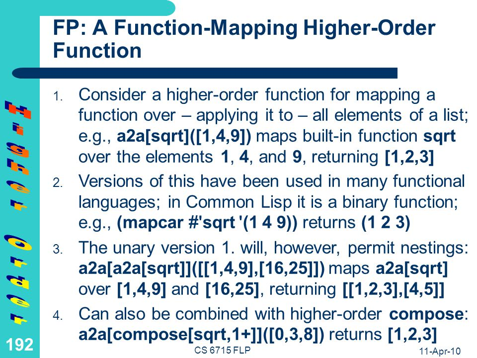 FP: Definition of, and Computation with, the a2a Higher-Order Function
