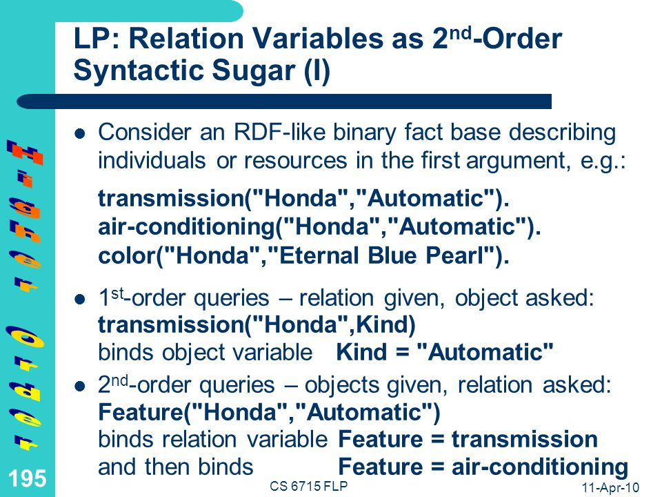 LP: Relation Variables as 2nd-Order Syntactic Sugar (II)