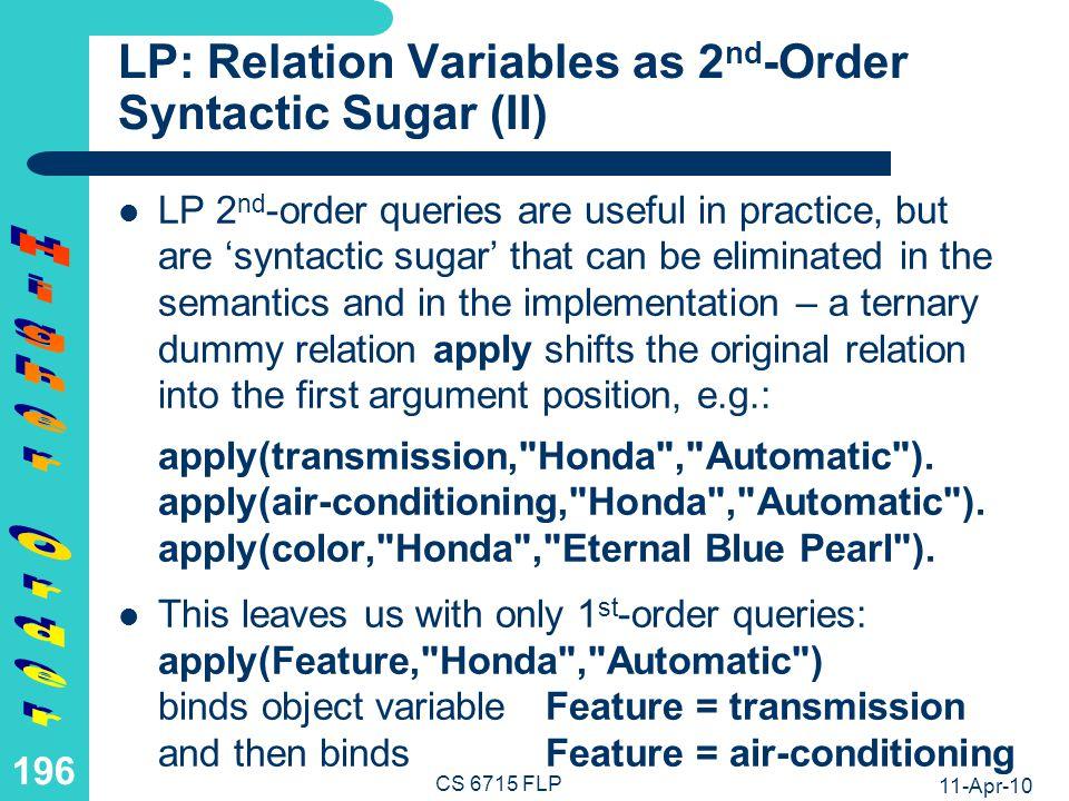 FLP: Function Variables as 2nd-Order Syntactic Sugar (I)