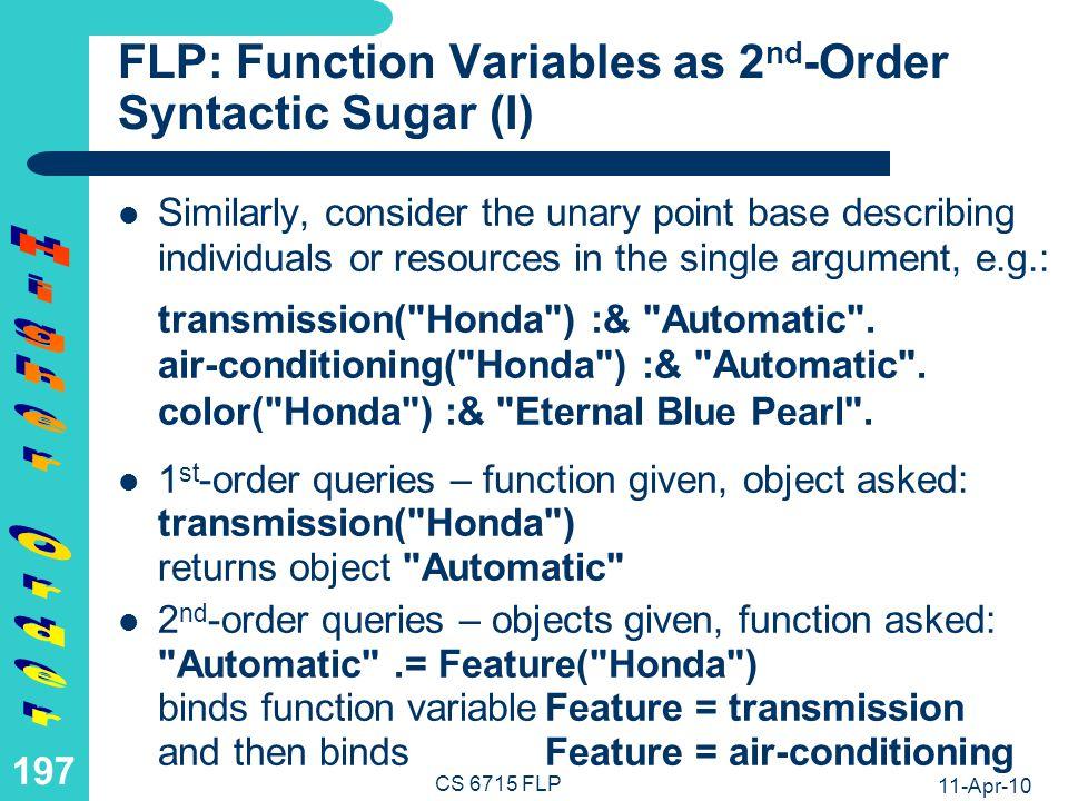 FLP: Function Variables as 2nd-Order Syntactic Sugar (II)