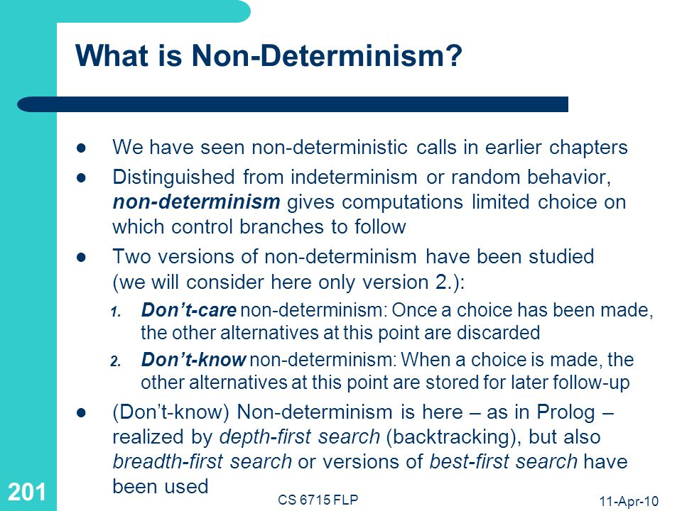 Taxonomy of Deterministic vs. Non-Deterministic Definitions and Calls