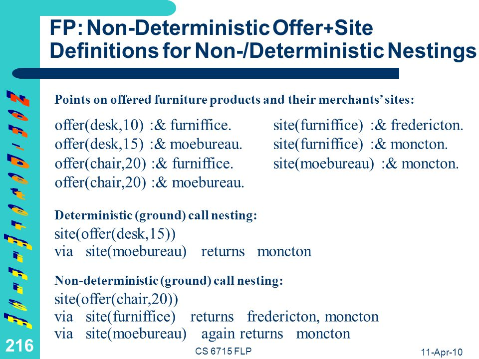 LP: Deterministic Offer+Site Definitions for Deterministic Conjunctions