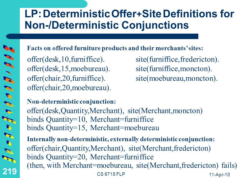 FLP: Non-Deterministic Offer+Site Definitions for Non-/Deterministic Nestings