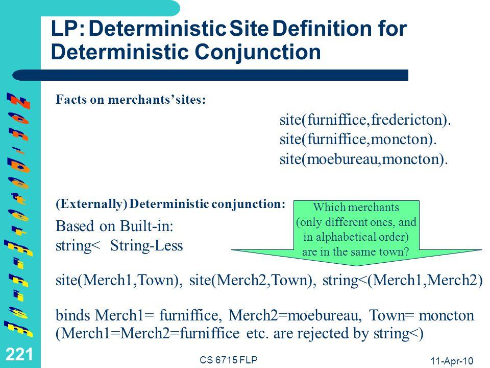 FLP: Deterministic Site Definition for Deterministic Conjunction