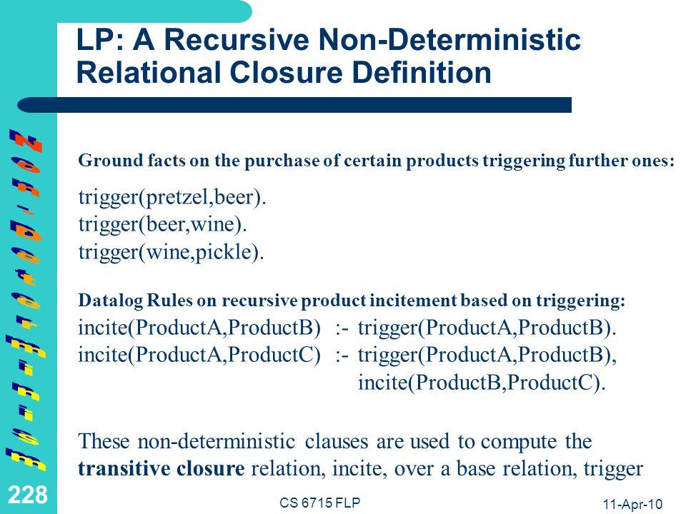 LP: A Recursive Non-Deterministic Relational Closure Computation