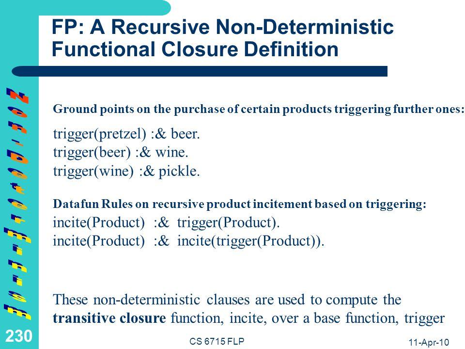 FP: A Recursive Non-Deterministic Functional Closure Computation
