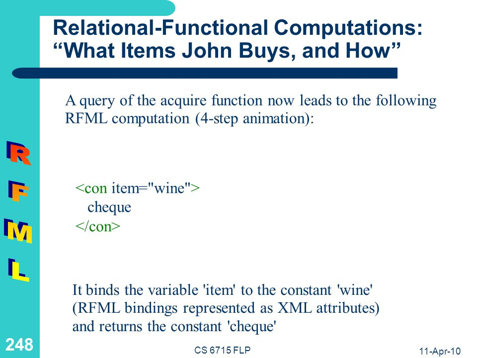 RFML The RFML DTD (1) CS 6715 FLP 11-Apr-10