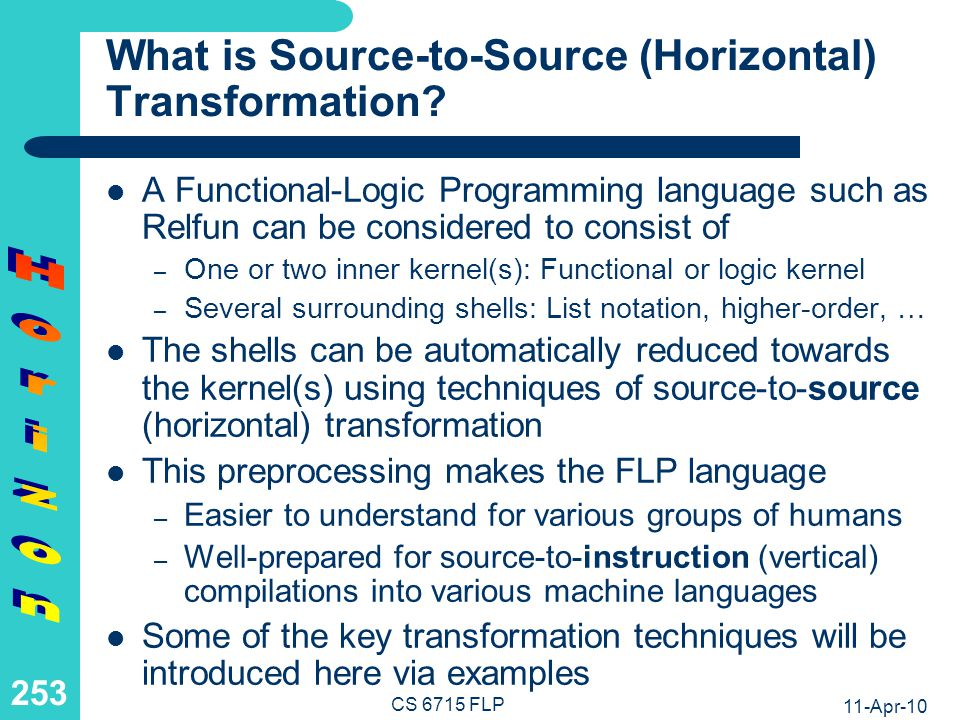 An Overview of Source-to-Source (Horizontal) Transformation