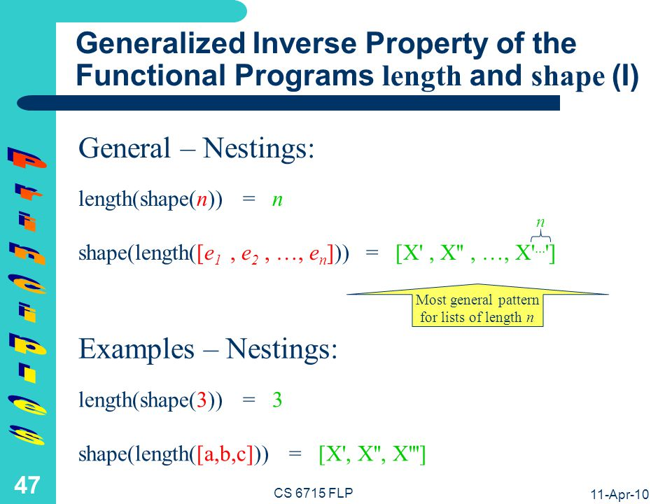 Generalized Inverse Property of the Functional Programs length and shape (II)