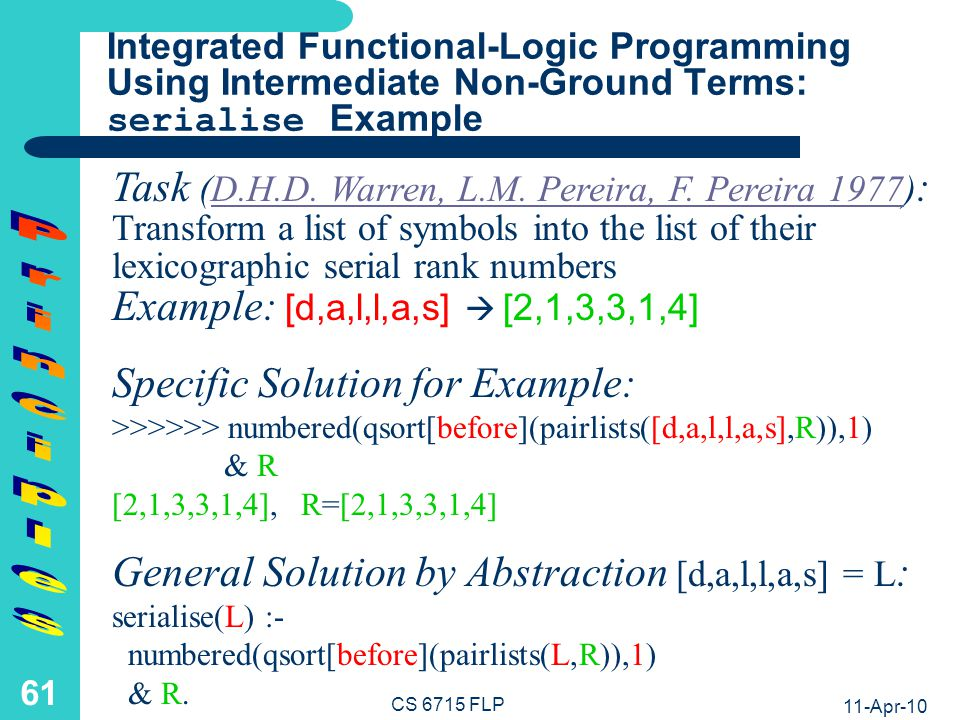Derivation of the serialise Solution