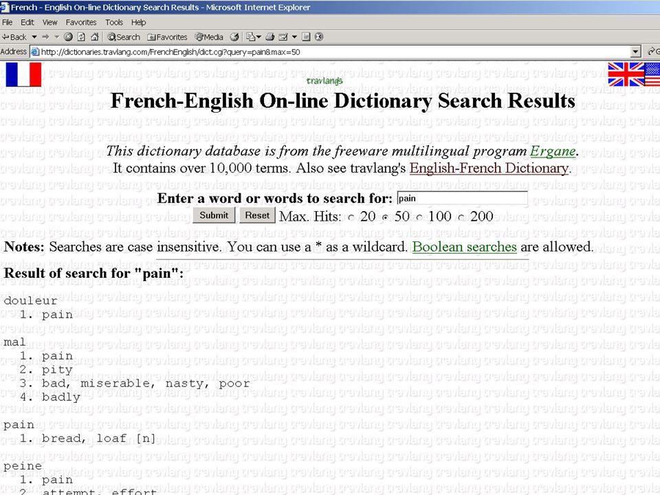 Functional Definition Example: Bidirectional French-English Translator