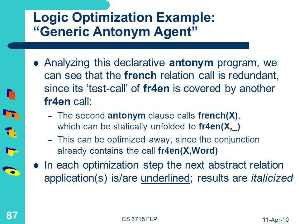 Logic Programs: Static Optimization in Conjunctive Calls
