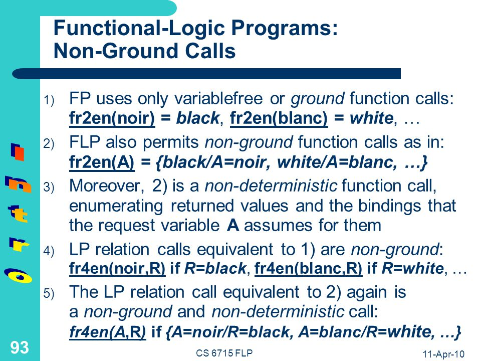 Summary Notions of Functional and Logic Programming can be treated in a joint manner.