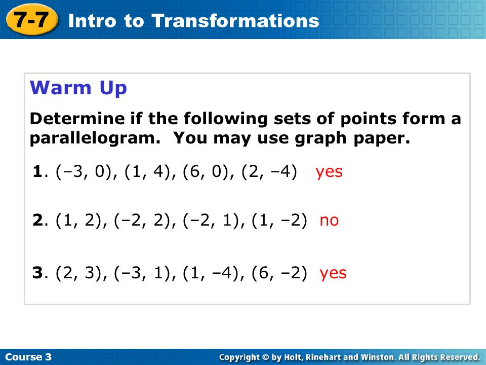 7-7 Intro to Transformations Warm Up