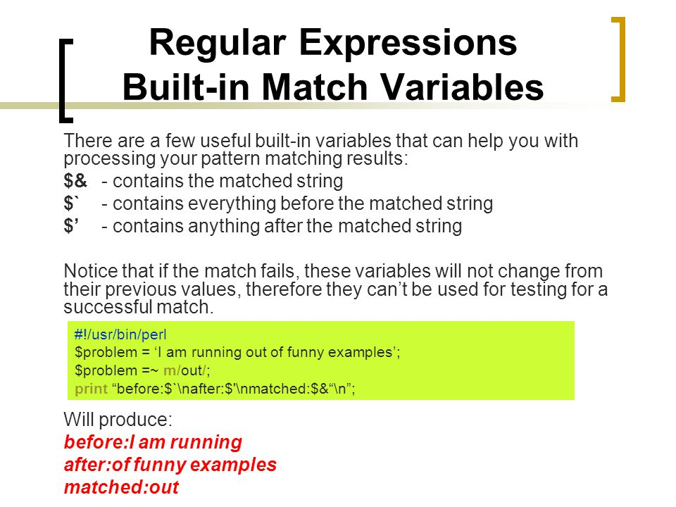 Regular Expressions Built-in Match Variables