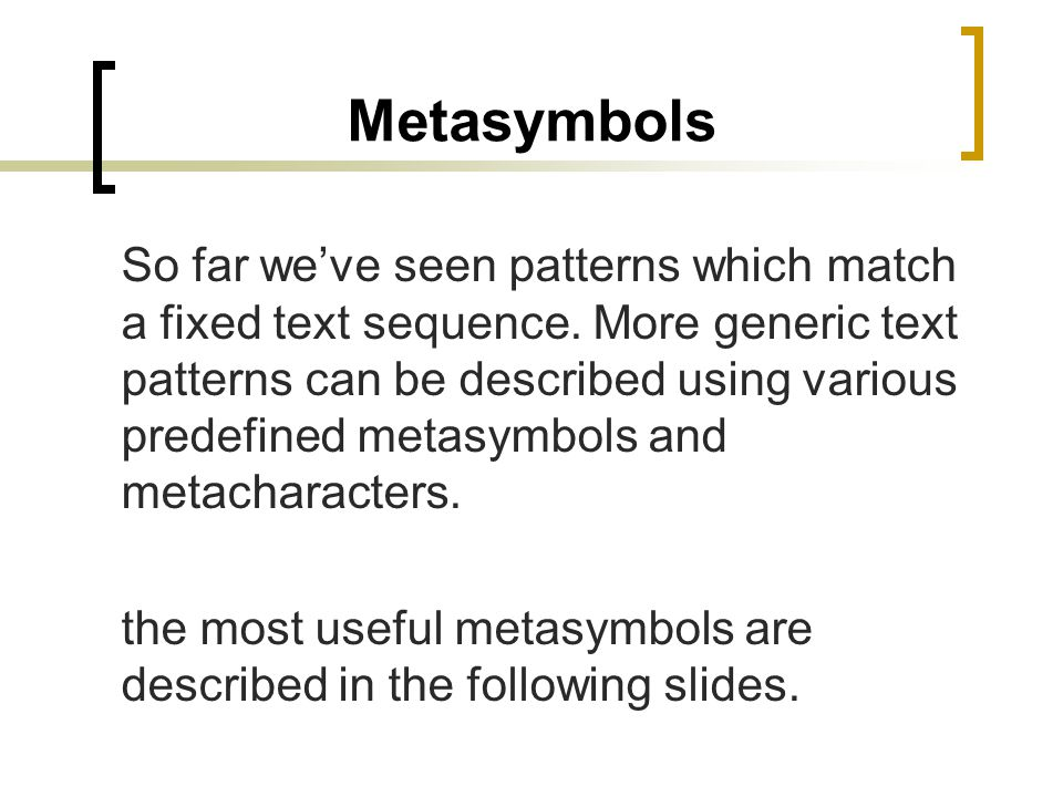Metasymbols