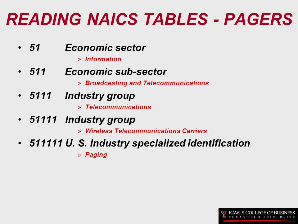 READING NAICS TABLES - PAGERS