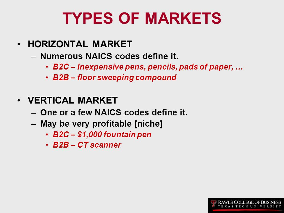 TYPES OF MARKETS HORIZONTAL MARKET VERTICAL MARKET