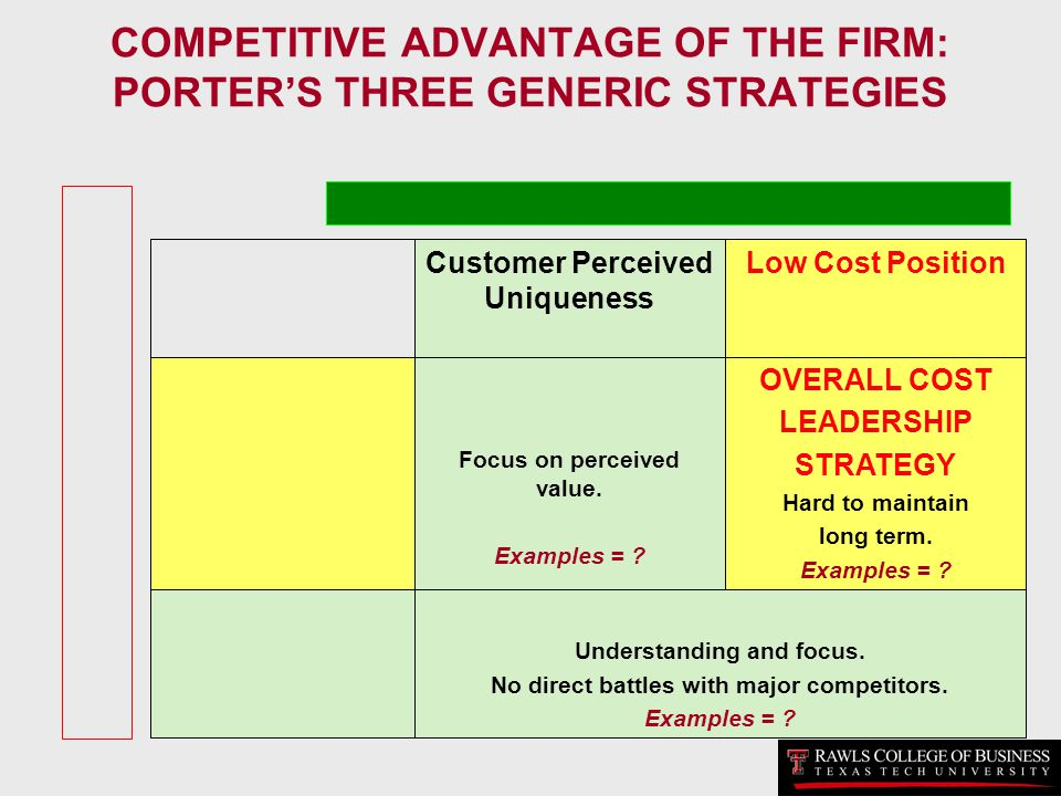 COMPETITIVE ADVANTAGE OF THE FIRM: PORTER'S THREE GENERIC STRATEGIES
