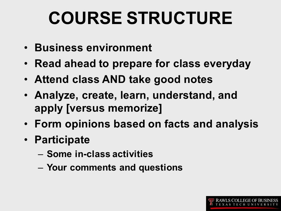 COURSE STRUCTURE Business environment