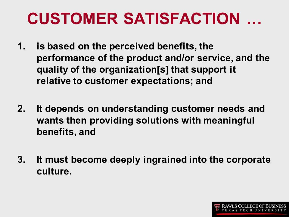 CUSTOMER SATISFACTION …