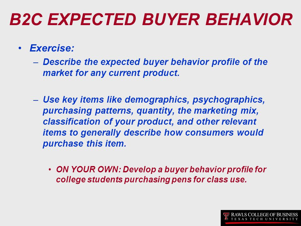 B2C EXPECTED BUYER BEHAVIOR