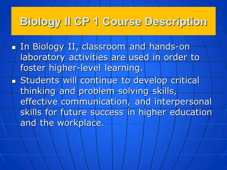 Biology II CP 1 Course Description