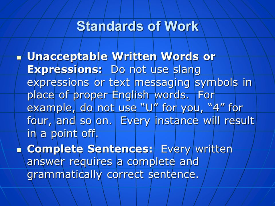 Standards of Work