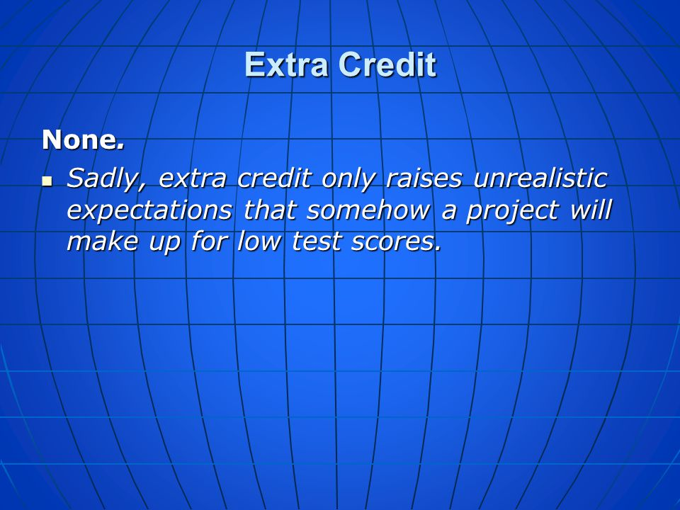 Extra Credit None.